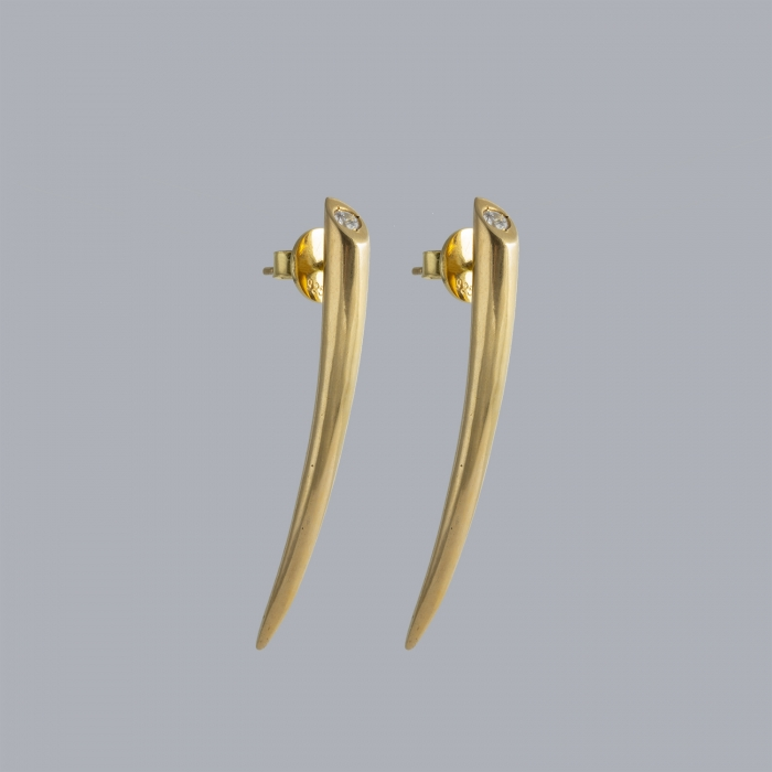 Tusk gold earrings